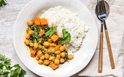 Chickpea, Sweet Potato, and Spinach Curry